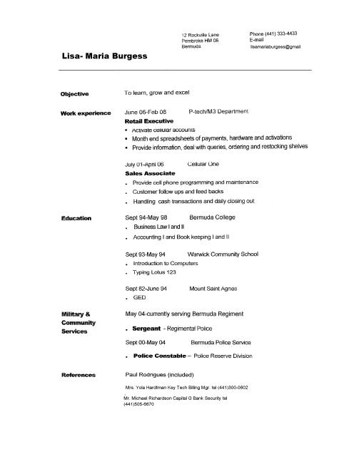 my resume burgess s